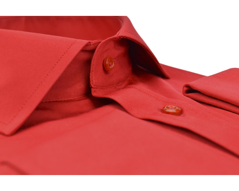 93a8a4873f2 SL 6111 Punane ühevärviline topeltmansetiga triiksärk itaalia kraega Meeste  triiksärgid