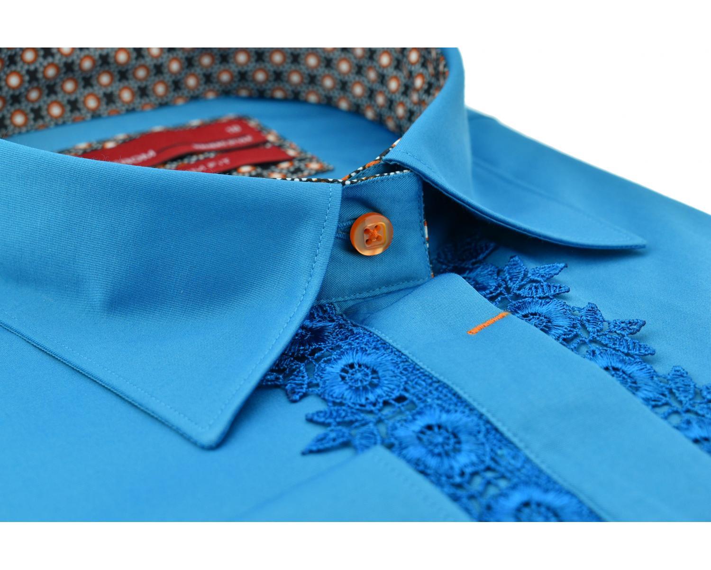 2a52599fe91 LL 3120-1 Бирюзовая рубашка с кружевом - Рубашки на все случаи жизни