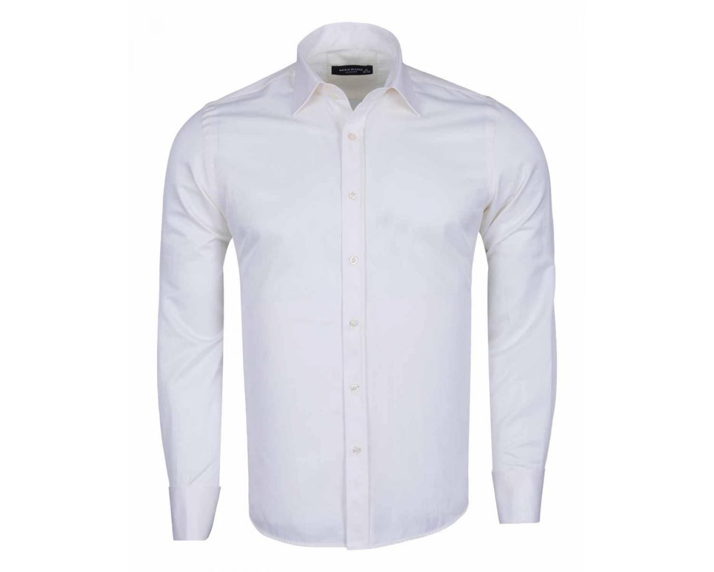 19818d5ed6c ... Кремово-белая рубашка с двойным манжетом под запонки SL 1045-B Мужские  рубашки ...